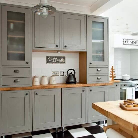 Grey Modern Country Kitchen From Ideal Home Magazine