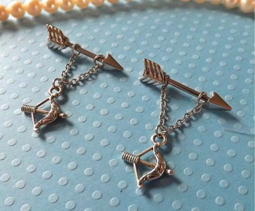 Arrow-with-Bow-and-Arrow-Nipple-Ring-14ga-1-SET