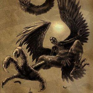 Nella mitologia greca sono raffigurate con viso di donna e busto da uccello rapace, con ali e artigli affilati. Lo scrittore Esiodo racconta l'esistenza di due sorelle arpie, Aello (burrasca) e Ocipete (vola svelta) figlie di Taumante ed Elettra, ma Virgilio nell'Eneide descrisse l'esistenza di una terza sorella di nome Celeno (oscura). Nell' odissea, queste creature vengono riportate come portatrici di tempeste marine, burrasche e nei rapimenti dei naufraghi.