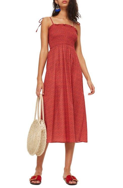e1b9d602d69a Topshop Ditsy Shirred Midi Dress