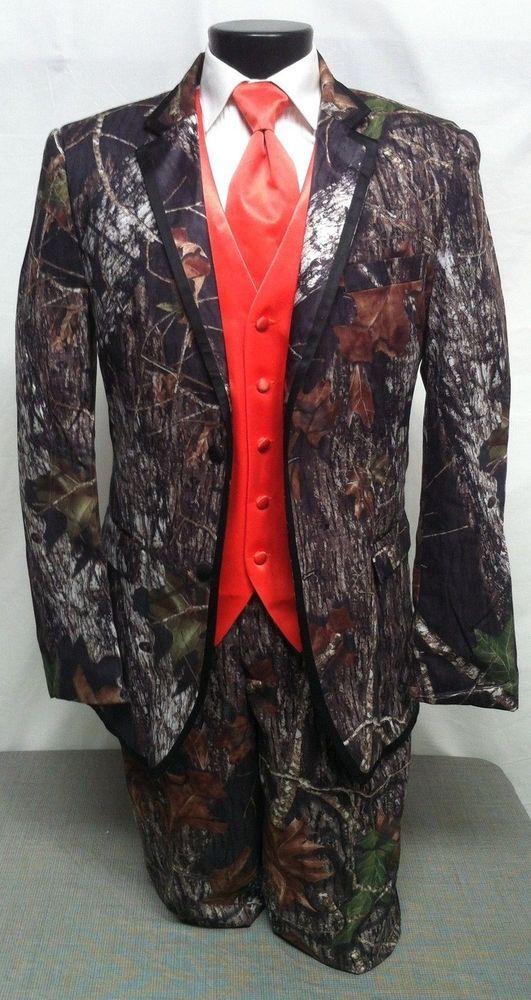 44R/44L NEW Mossy Oak Camo Tuxedo Package Alpine Tux Orange/Camo Vest Option