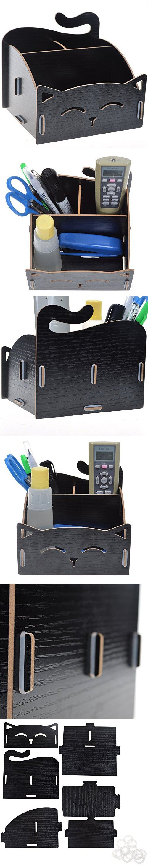 BCP Wood DIY Assemble Cute Cat Pen Pencil / Cosmetic Holder Desk Organizer for Home, Office (Black Color)
