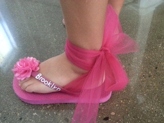 Custom Flower FlipFlops for FLOWER GIRL with by BrooklynsBowsNToes, $27.00