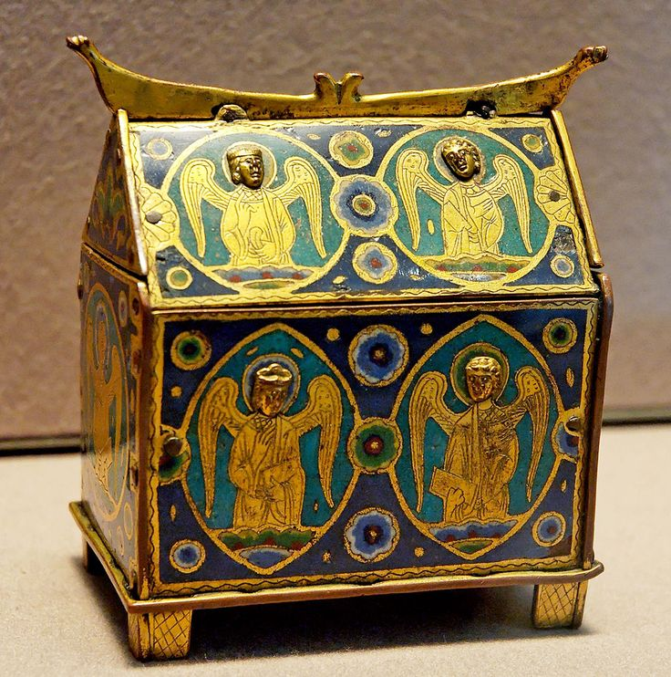 Early 13th century Limoges chasse used to hold holy oils; most were reliquaries. - Louvre - http://en.wikipedia.org/wiki/Vitreous_enamel