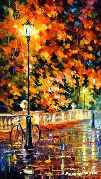 Lonely bicycle Artwork by Leonid Afremov Hand-painted and Art Prints on canvas for sale,you can custom the size and frame