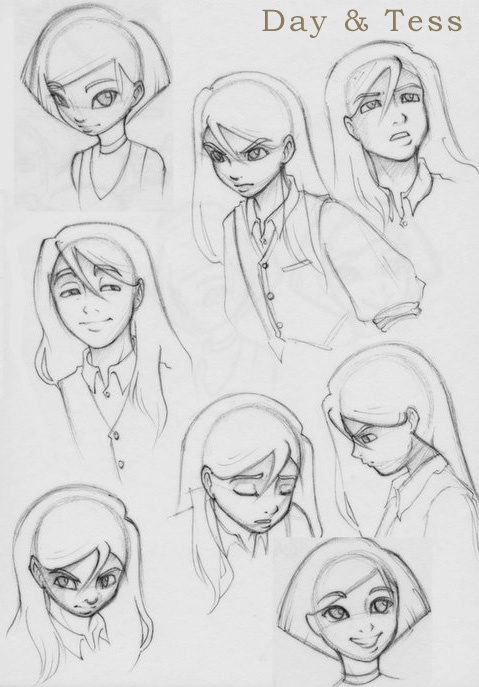 Old quicky sketches of Day and Tess. His eyes are way too big here, although I like a few of the expressions.