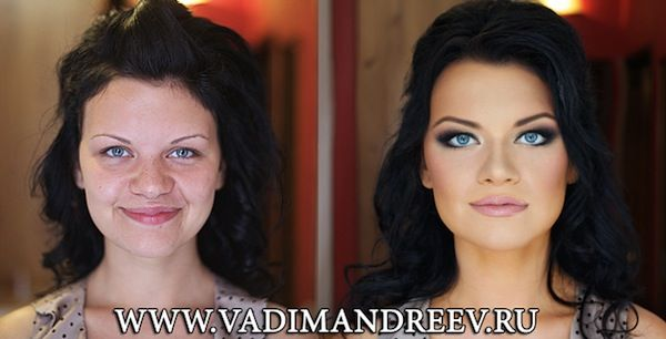 Astounding Before-And-After Photos Of Women With & Without Make-Up.  Astounding Before-And-After Photos Of Women With & Without Make-Up  By Dorothy Tan, 15 Oct 2013 COMMENT  SHARE Share on facebook Share on twitter Share on pinterest_share  95    It is common knowledge that make-up can do wonders for one's appearance, but what Russian hair and make-up artist Vadim Andreev has done with cosmetics still seems to be some sort of amazing sorcery.