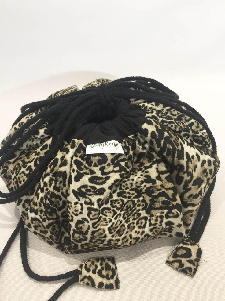 Leopard Print Makeup Bag fold out flat, easy clean liner