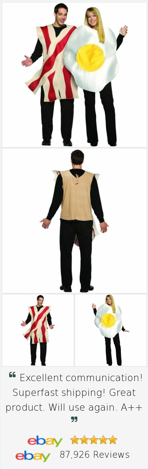 Bacon and Egg Costumes Set Adult Funny Couples Halloween Fancy Dress