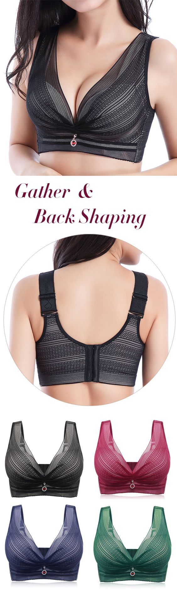 53%OFF&Free shipping. Plus Size Wireless Deep Plunge Gather Back Shaping Longlin…