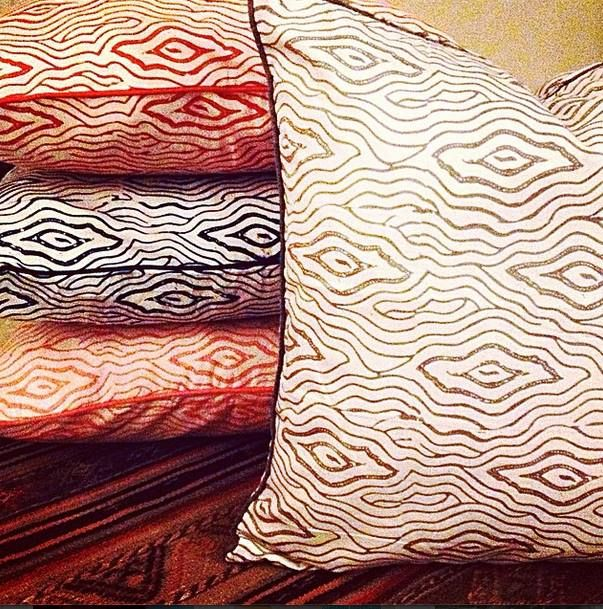 Wooden grain cushion covers by Tan Living.