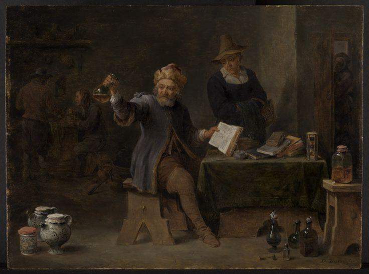 David Teniers: de dorpsarts. Tussen 1630-1639. Staatliche Kunsthalle, Karlsruhe. Horizontale composities, waarop de dokter zittend is afgebeeld, zijn gesitueerd in armoedige, met boeken en paperassen bezaaide interieurs, die nog het meest op studeerkamers van alchemisten lijken, behoren tot het domein van de schilders van het boerenleven. Dou's bijdrage is dat hij het vulgaire onderwerp heeft getransformeerd tot een nieuw thema voor schilders van het burgerleven.