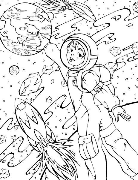 Line Art Space : Space exploration digi stamp coloring page illustration