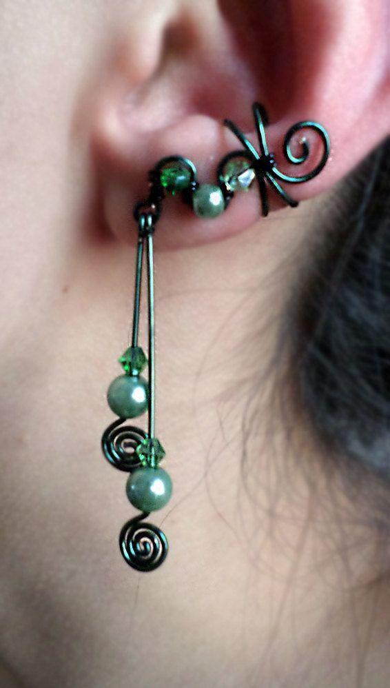 Elegant Two Pin Swirl Ear Cuff in Green. Fantasy Inspired Jewelry by alyssblackapparel on Etsy, $20.00