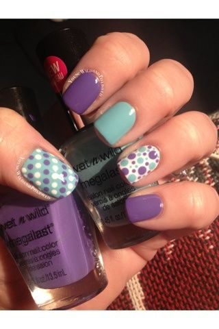 Pastal Purple, Teal, and White Polkadots Nail Art Design. Discover and share your nail design ideas on www.popmiss.com/...