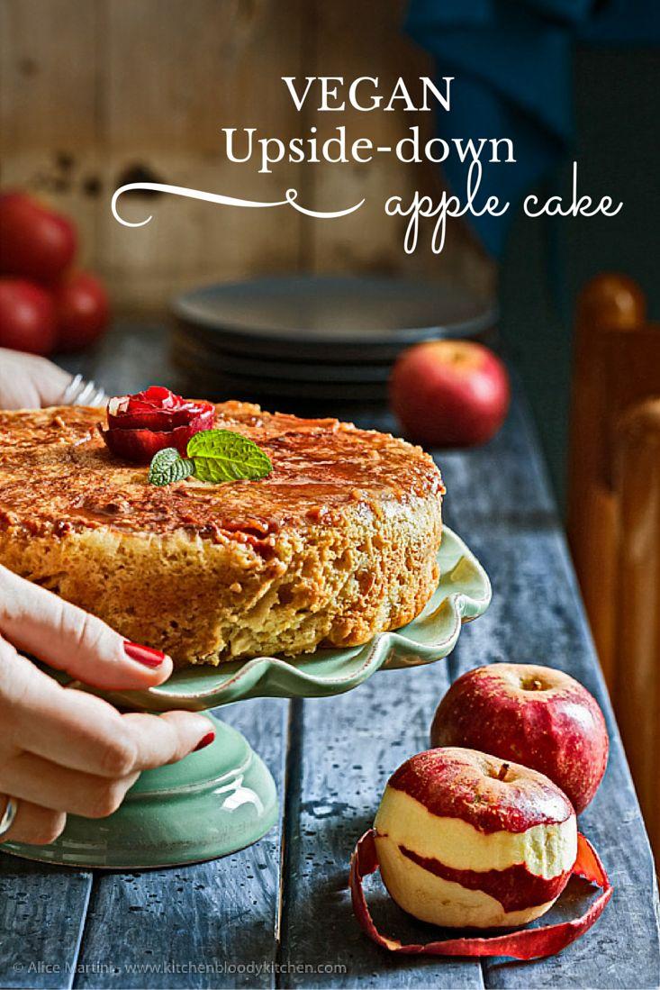 Vegan upside-down Apple Cake | Torta rovesciata di mele | Un dolce vegan semplice e da fare in fretta, con ingredienti base che si trovano in qualunque cucina