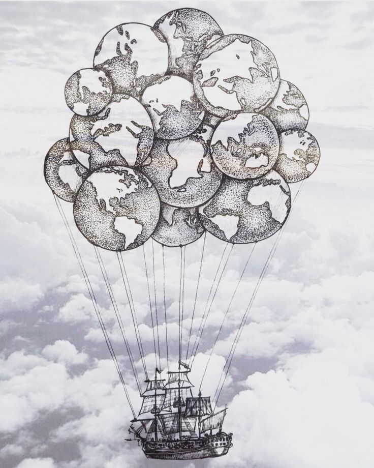 illustration earth sky ship globe balloon inspiration travel