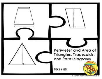 TEKS 6.8D - A puzzle that requires students to match the triangle, trapezoid, or parallelogram with the perimeter, area, and word problem that match given dimensions.  There are 5 problems for each shape for a total of 15 puzzles.  Dimensions are in decimals, fractions with unlike denominators, and a mix of decimal and fractions.