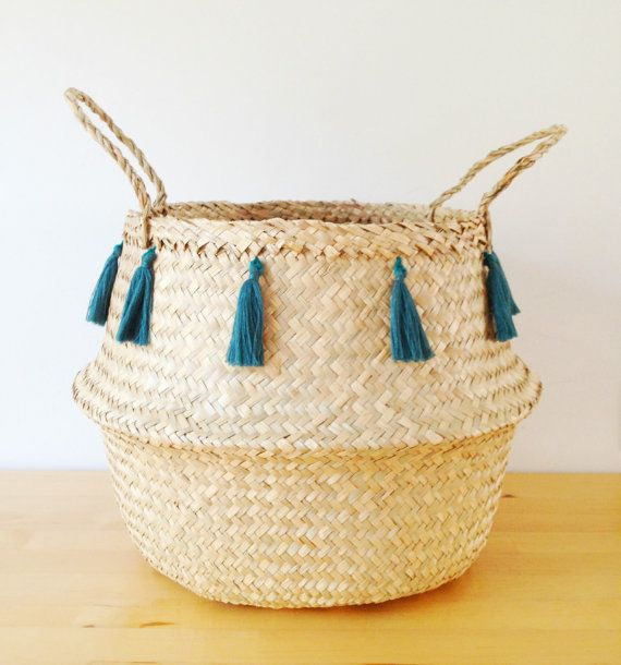 Mar de borla hierba vientre cesta Teal azul por TalaHomeDesign