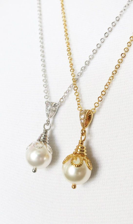 Simple Pearl Necklace with Swarovski Pearl Drop, Silver White Bridal Weddings Bridesmaid necklace, valentine, gifts for her, everyday pretty