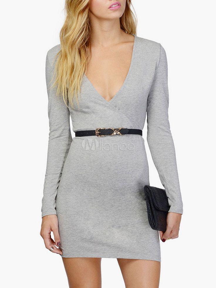 Vestido corto de algodón con cuello en V y manga larga - Milanoo.com