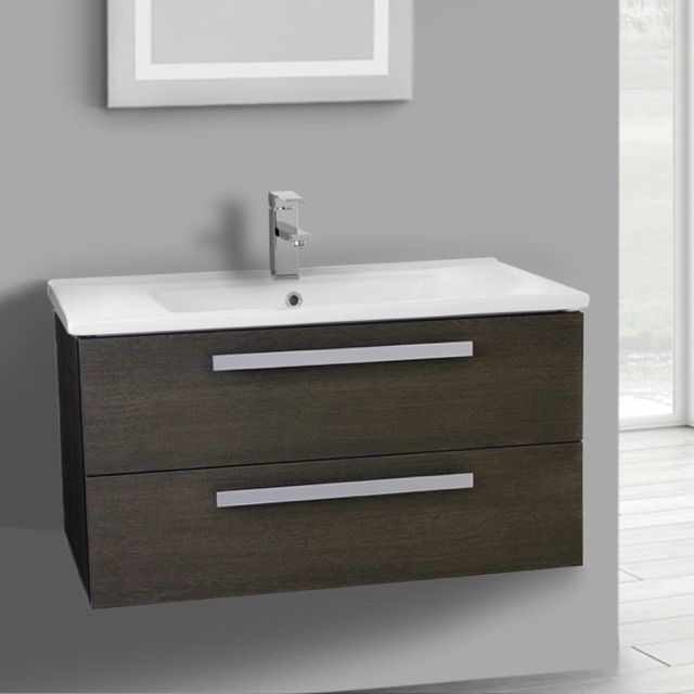 33 Inch Grey Oak Wall Mount Bathroom Vanity Set With 2 Drawers