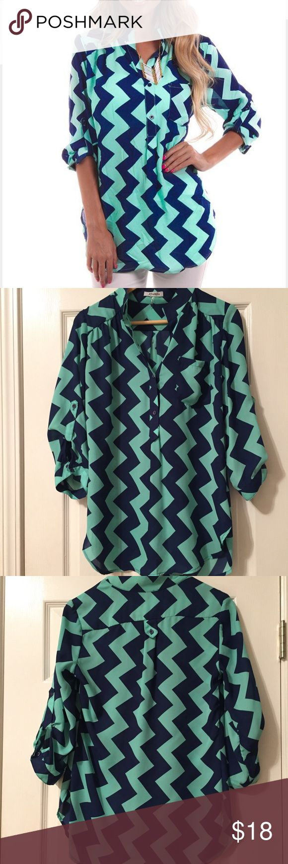 "Chevron Top Chevron Top purchased from boutique so not a ""name brand""- mint and navy- sleeves have tabs- sheer fabric- fee loose strings as sheer tops tend to get after being worn -other than that great condition Tops"