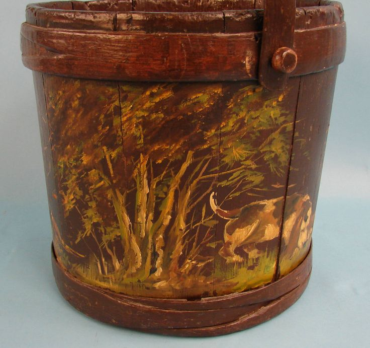 English Victorian Decorated Bucket with Dog Theme | From a unique collection of antique and modern vases and vessels at https://www.1stdibs.com/furniture/decorative-objects/vases-vessels/