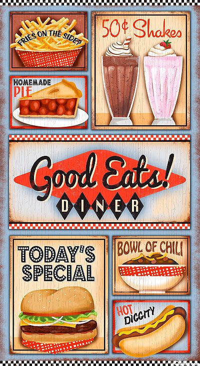 "Good Eats Diner - Fast Food Delight - 24"" x 44"" PANEL - Quilt Fabrics from www.eQuilter.com"