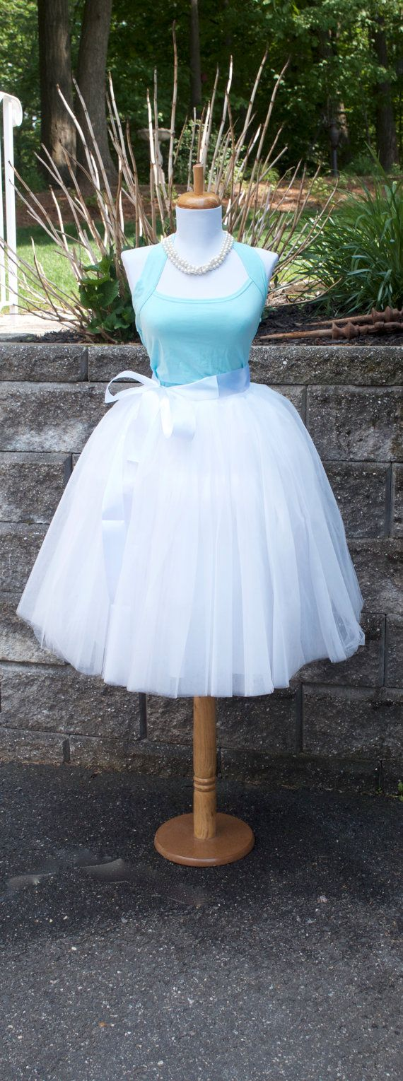 Womens Tutu White Tulle skirt White tulle by MaidenLaneBoutique
