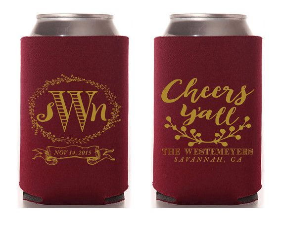 Personalized Wedding Favors Cheers Y'all Monogrammed Wedding Favors Country Wedding Favors Rustic Wedding Gift Floral Shower Favor 1247 by SipHipHooray