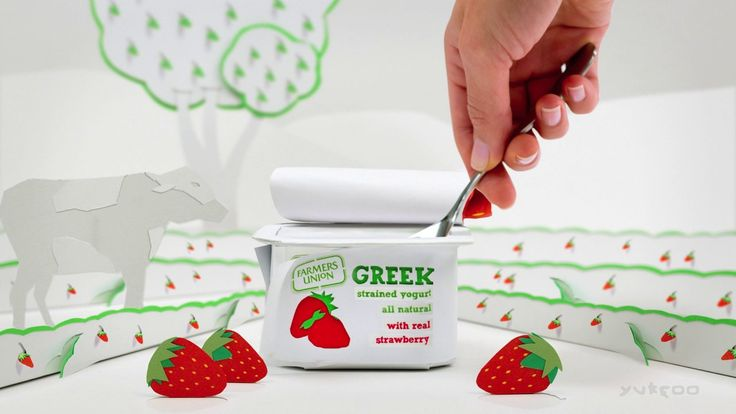 Paper craft, stop motion, pixilation, yogurt, strawberry, hand made, hand crafted