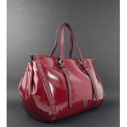 Shopping Borsa Trussardi Borchie Bordeaux Vernice Donna Ecopelle 3j5cLqR4A
