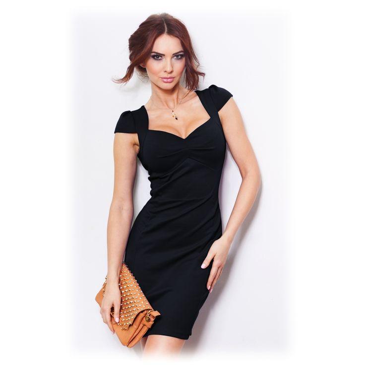 Dámské společenské šaty s balónovým rukávkem černé