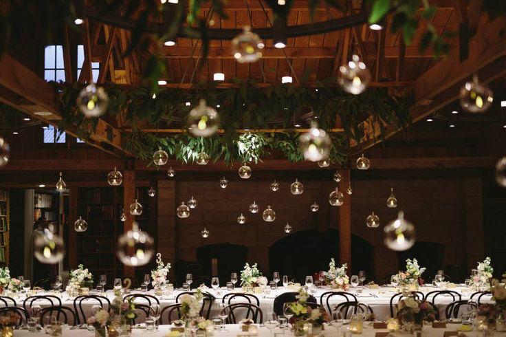 Foliage Beams with hanging tea lights - Bendooley Estate, Berrima