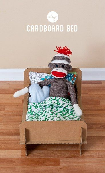 how to make a cardboard bed, craft for kids