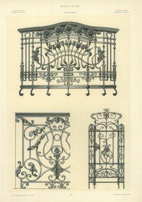 Mintalap - A volt királyi bérpalota lépcsőházi rácsának részlete, erkélyrács és rácsos ajtó terve
