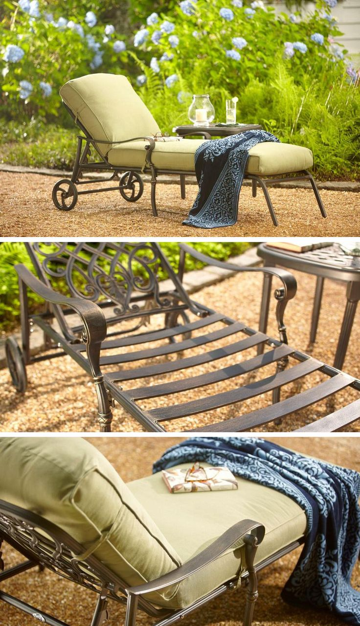 Hampton Bay Edington Cast Back Adjustable Patio Chaise