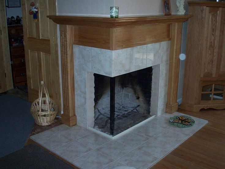 Corner Two Sided Fireplace Mantels | Corner Fireplaces Big Tiles Design  Ideas