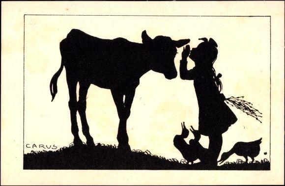 Scherenschnitt Ansichtskarte / Postkarte Carus, Mädchen flüstert eine Kuh ins Ohr, Enten | akpool.de