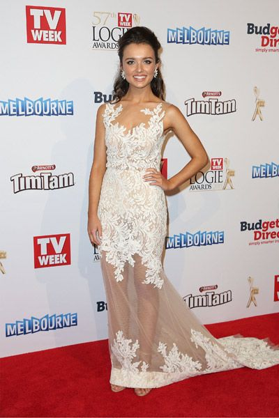 Phillipa Northeast in George Wu at the 2015 Logie Awards.