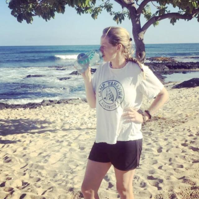 Staying hydrated in Hawaii! Way too hot for a #tamakwatoque today! #andrea shows her #tamakwaspirit in her #tamakwatshirt ! #tamakwatravels #summerfun #summercamp