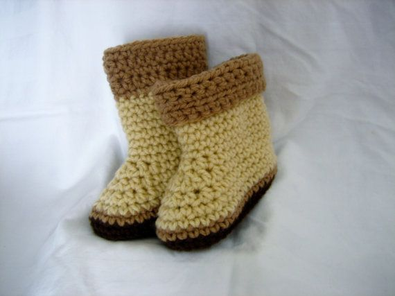 Ugg style boots made for babies and kids  Easy to slip on to run a quick errand with the kids in the vehicle  Crocheted with 100% acrylic
