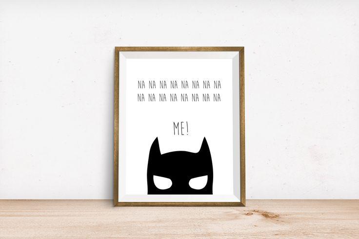 funny Batman print, cute batman print, kids batman print, monochromatic batman print, wall print, modern batman print, superhero print by LittleLiefCreative on Etsy