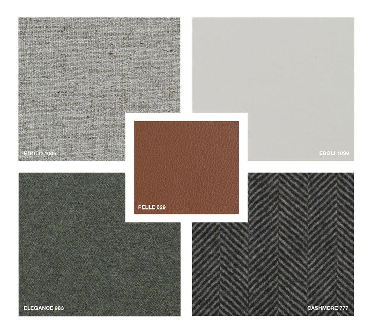 Leather: Pelle 629 Cashmere 777 Fabrics: Edolo 1005, Eboli 1039, Elegance 983