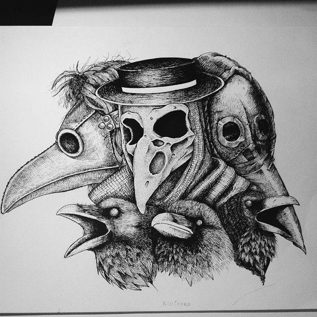 Doctor plague e corvos Cuervo dibujo, Tatuaje de cuervo