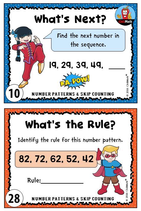 Use task cards to help your students review or practice how to skip count and identify arithmetic patterns. Check out our Number Patterns and Skip Counting set for more task cards like this $