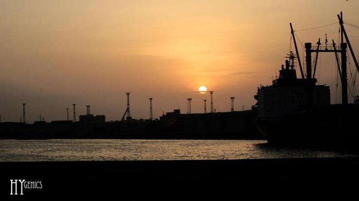 beautiful sunset karachi harbor