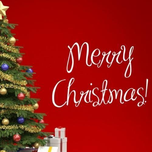 MERRY CHRISTMAS WORDING 1 WALL ART STICKER LRG VINYL DECAL