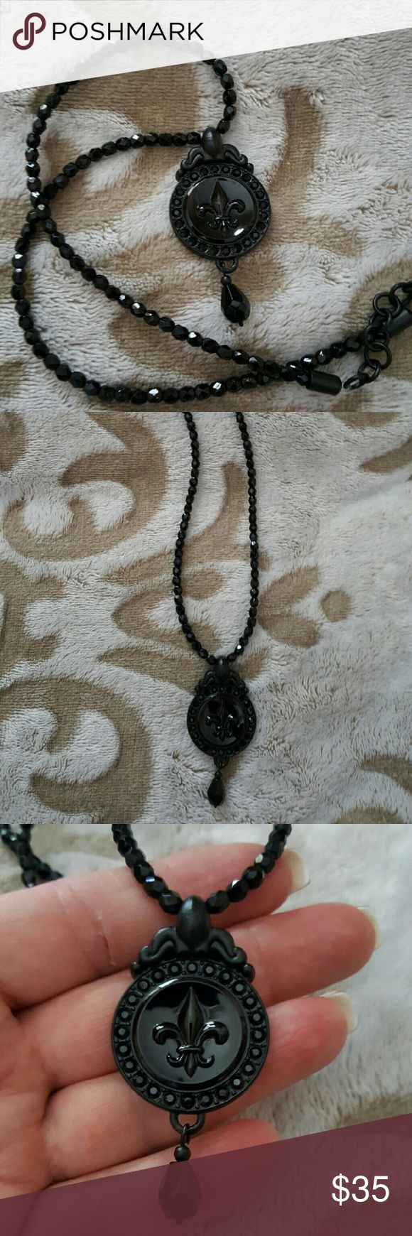 """Brighton ~ Dramatic Black Fleur-de-lis Necklace Brighton,  Gently Worn,  An exquisite & unusual design from Brighton Collectibles.  Done entirely in black, this is a dramatic and eye-catching piece. The faceted crystal chain measures approximately 18"""" while the fleur-de-lis pendant is approx 2""""long. One of my personal all time favorite designs from BC. Brighton Jewelry Necklaces"""